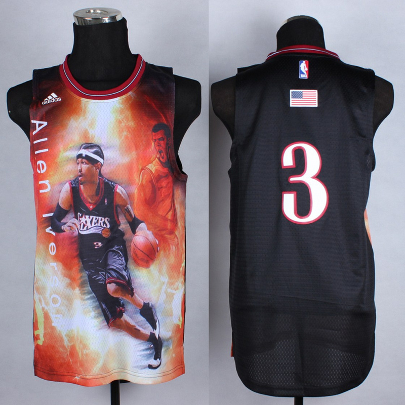 NBA Philadelphia 76ers 3 Allen Iverson Black fashion Jerseys