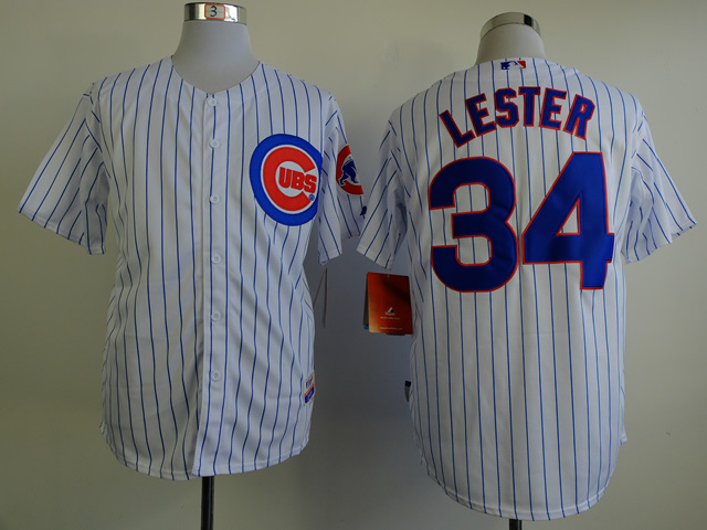 MLB Chicago Cubs 34 Lester white stripe Jerseys