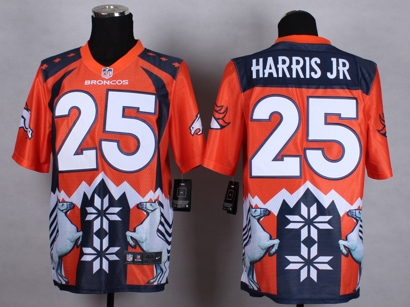 Denver Broncos 25 Harris jr Orange 2015 New Style Noble Fashion Elite Jerseys