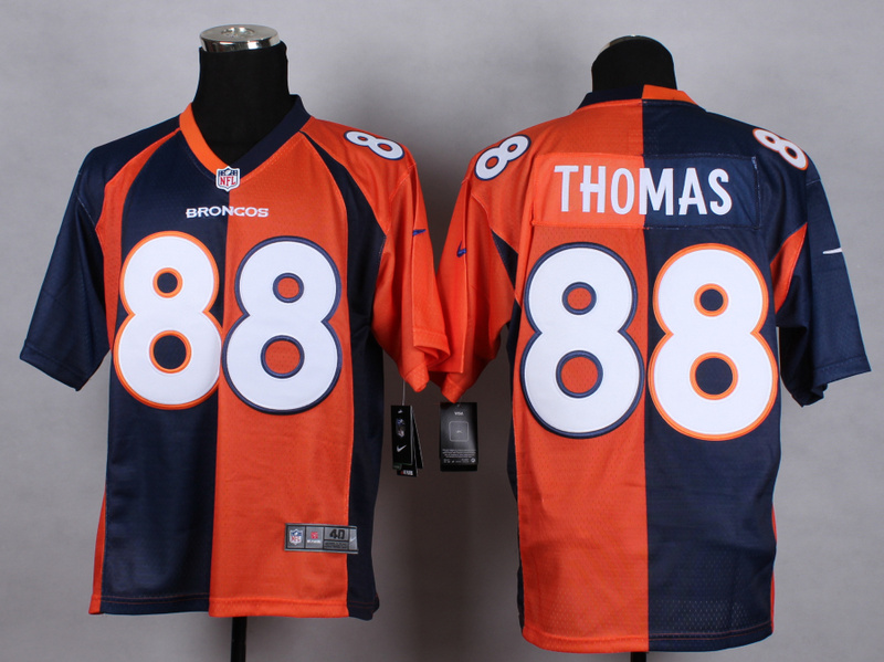 Denver Broncos 88 thomas Blue orange Nike Elite Split 2015 Jersey