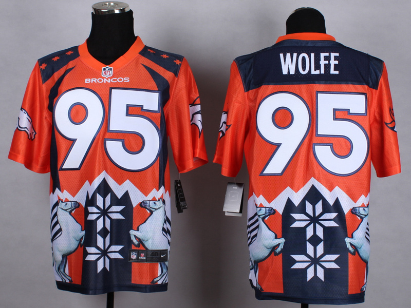 Denver Broncos 95 Wolfe Orange 2015 New Style Noble Fashion Elite Jerseys