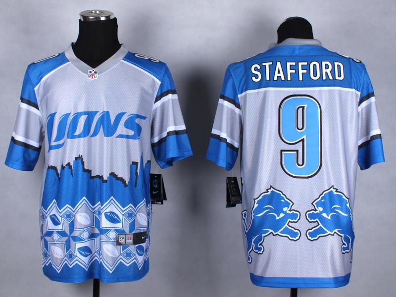 Detroit Lions 9 Stafford blue 2015 New Style Noble Fashion Elite Jerseys