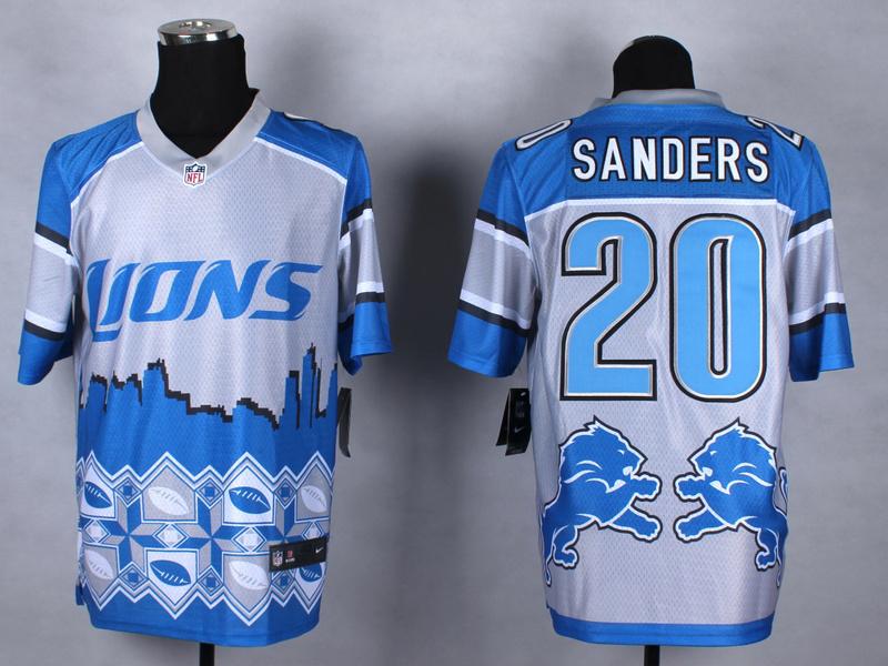 Detroit Lions 20 sanders blue 2015 New Style Noble Fashion Elite Jerseys