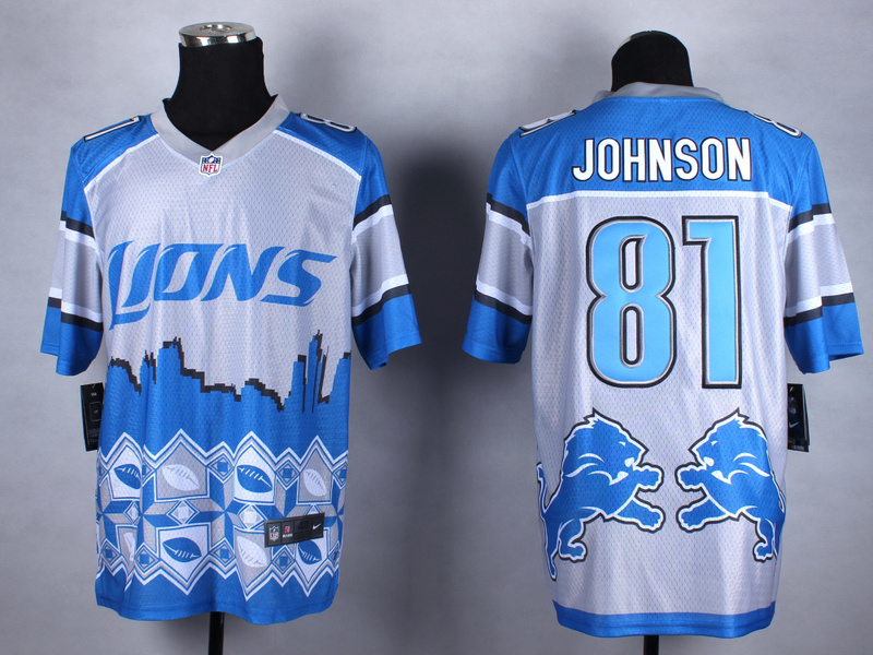 Detroit Lions 81 Johnson blue 2015 New Style Noble Fashion Elite Jerseys