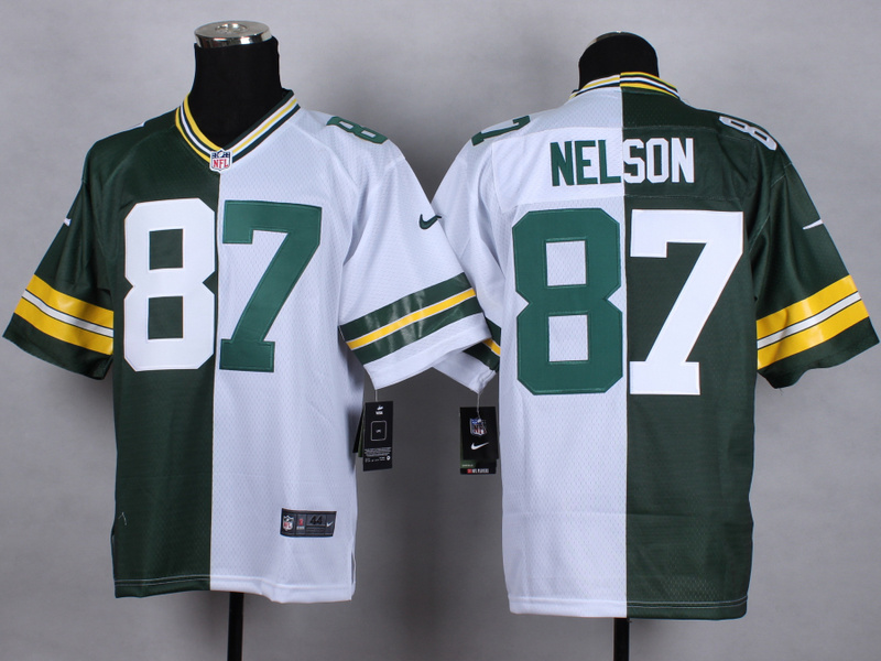Green Bay Packers 87 Nelson Green white Nike Elite Split 2015 Jersey