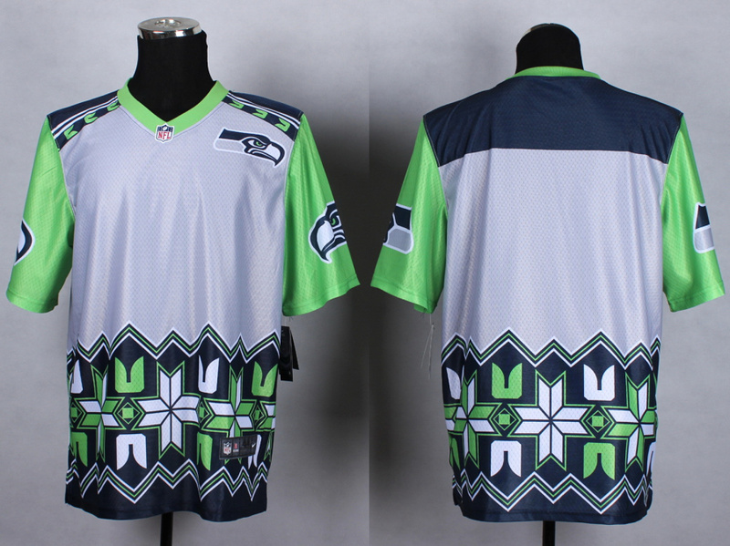 Seattle Seahawks Blank Grey 2015 New Style Noble Fashion Elite Jerseys