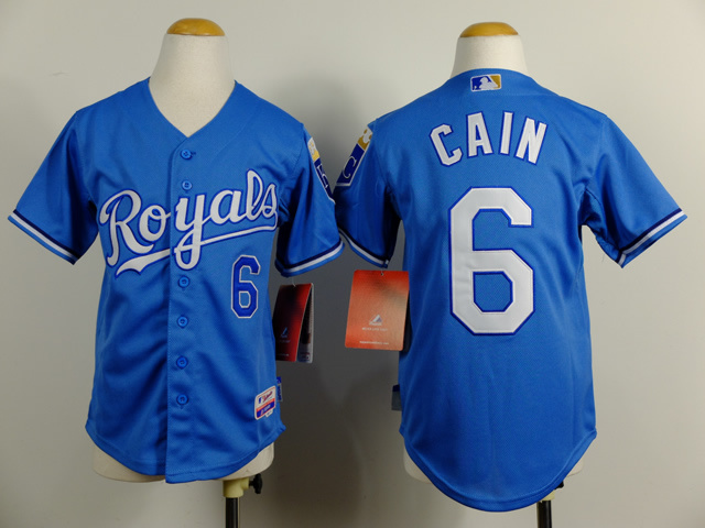 Youth MLB Kansas City Royals 6 Lorenzo Cain Blue 2014 Jerseys