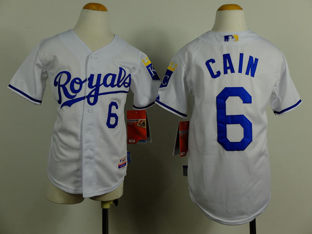 Youth MLB Kansas City Royals 6 Lorenzo Cain white 2014 Jerseys