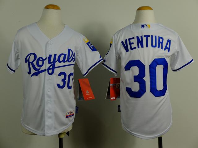 Youth MLB Kansas City Royals 30 Yordano Ventura white 2014 Jerseys