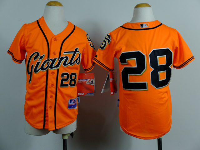 Youth MLB San Francisco Giants 28 Buster Posey Orange 2014 Jerseys