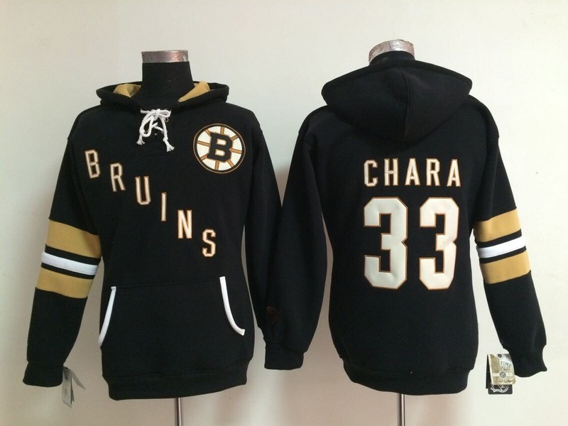 Womens NHL Boston Bruins 33 Zdeno Chara Black Pullover Hooded Sweatshirt