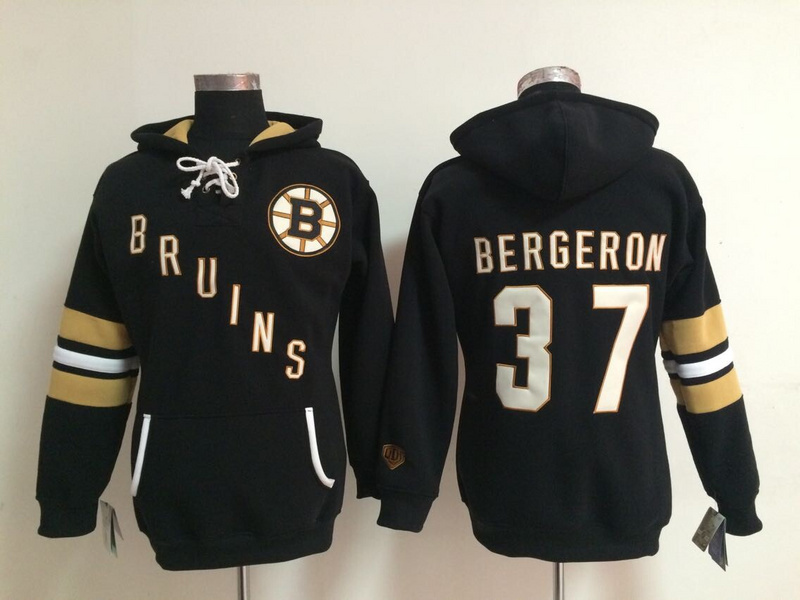 Womens NHL Boston Bruins 37 Patrice Bergeron Black Pullover Hooded Sweatshirt
