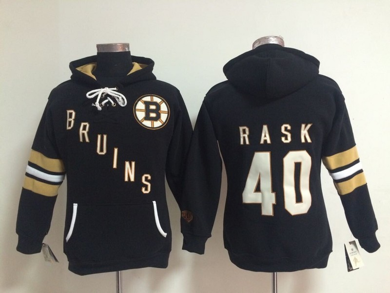 Womens NHL Boston Bruins 40 Tuukka Rask Black Pullover Hooded Sweatshirt