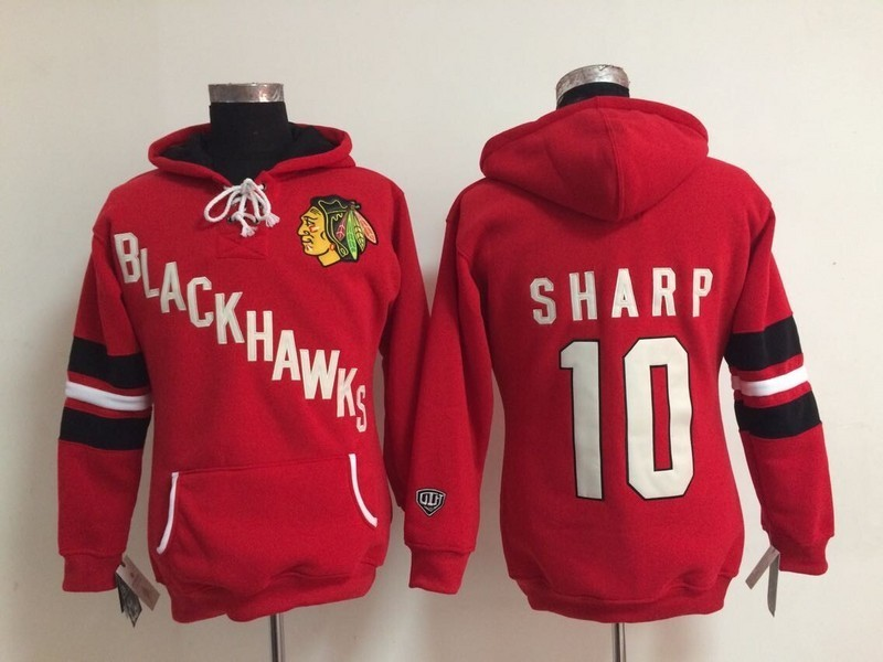 Womens NHL Chicago Blackhawks 10 Patrick Sharp Red Pullover Hooded Sweatshirt
