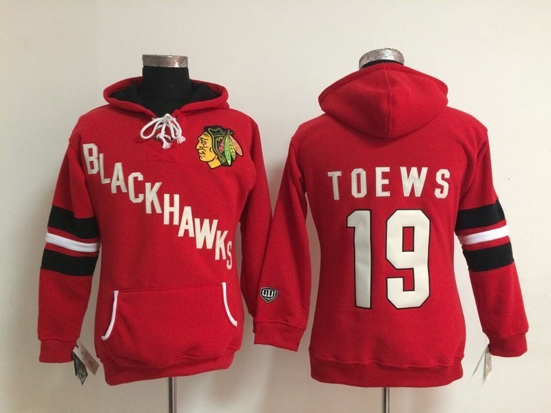 Womens NHL Chicago Blackhawks 19 Janathan Toews Red Pullover Hooded Sweatshirt