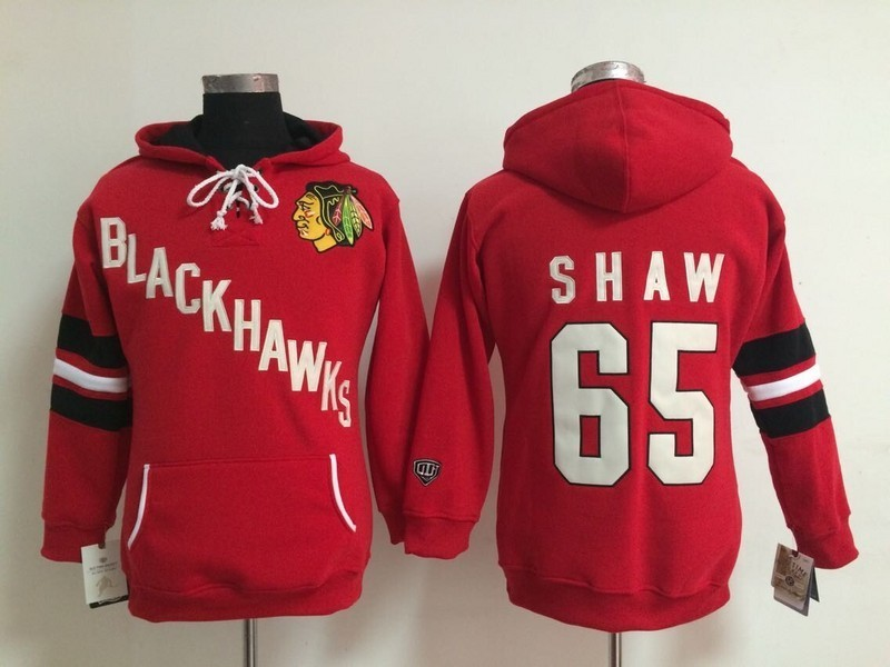 Womens NHL Chicago Blackhawks 65 Andrew Shaw Red Pullover Hooded Sweatshirt