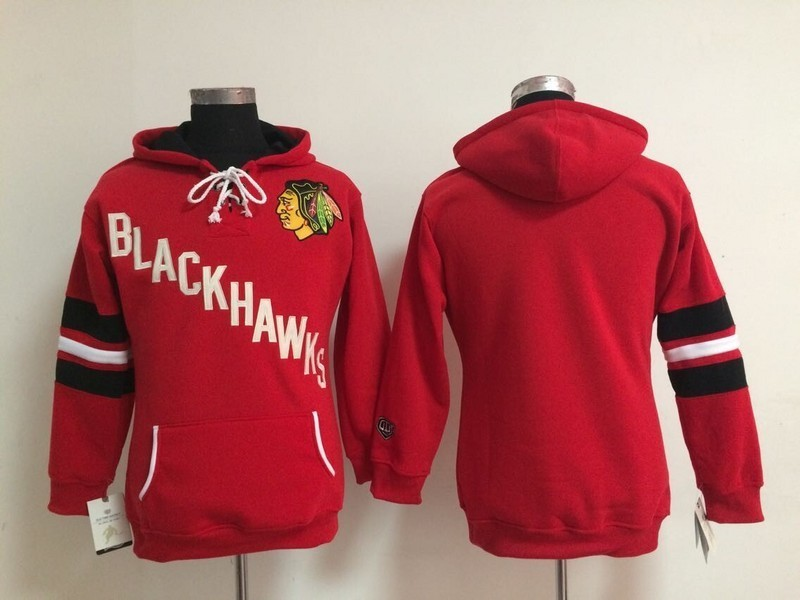 Womens NHL Chicago Blackhawks Blank Red Pullover Hooded Sweatshirt