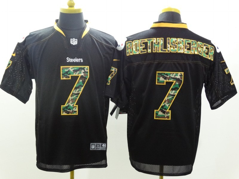 Pittsburgh Steelers 7 Ben Roethlisberger Black Camo Fashion 2014 New Nike Jerseys
