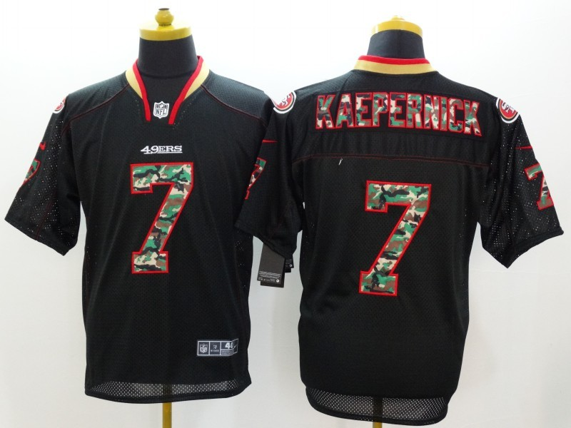 San Francisco 49ers 7 Colin Kaepernick Black Camo Fashion 2014 New Nike Jerseys