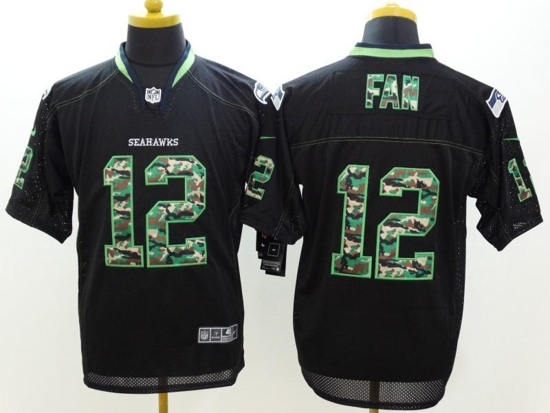 Seattle Seahawks 12th Fan Black Camo Fashion 2014 New Nike Jerseys