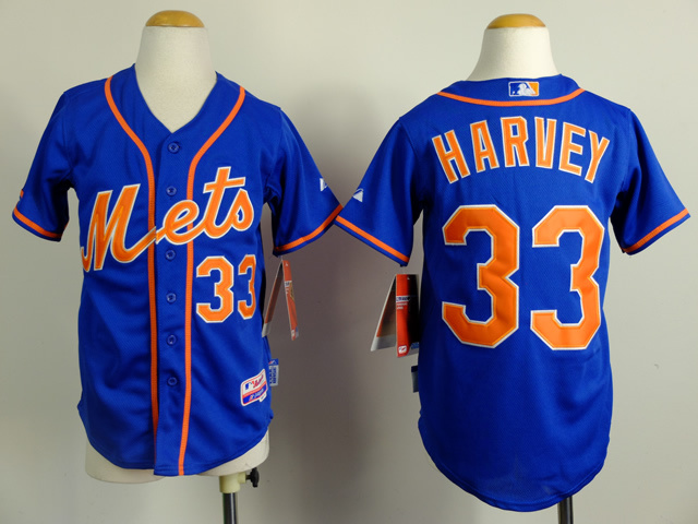 Youth MLB New York Mets 33 Matt Harvey Blue 2015 Jerseys