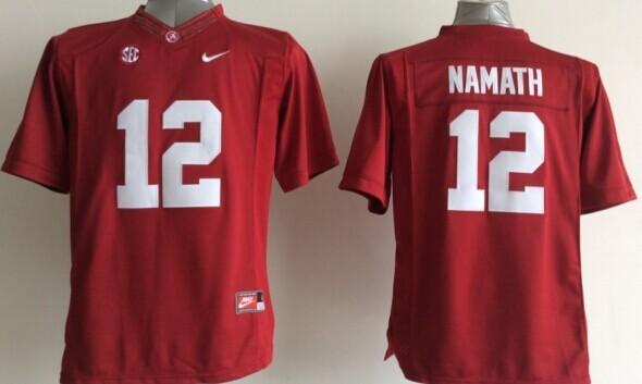 Youth NCAA Alabama Crimson Tide 12 Joe Namath Red 2015 Jerseys