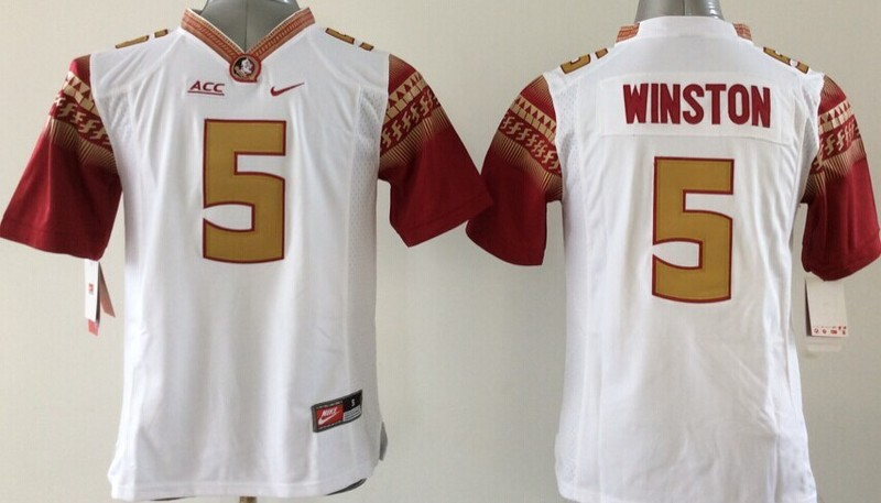 Youth NCAA Florida State Seminoles 5 Jameis Winston White 2015 Jerseys