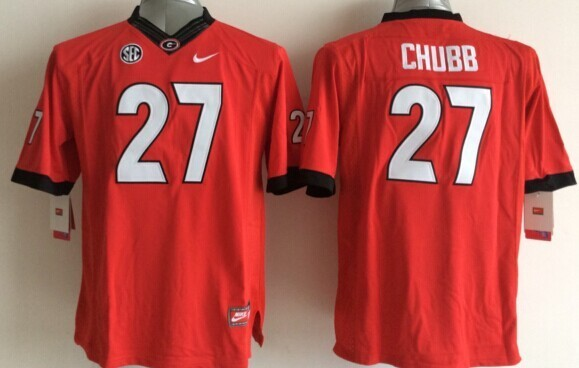 Youth NCAA Georgia Bulldogs 27 Nick Chubb Red 2015 Jerseys