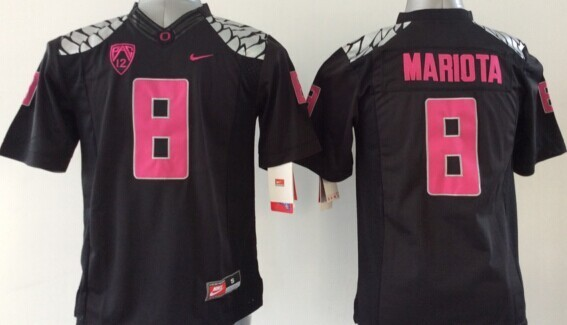 Youth NCAA Oregon Ducks Marcus Mariota 8 Black Pink 2015 Jerseys