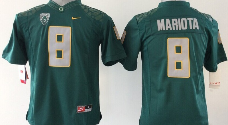 Youth NCAA Oregon Ducks Marcus Mariota 8 Green 2015 Jerseys
