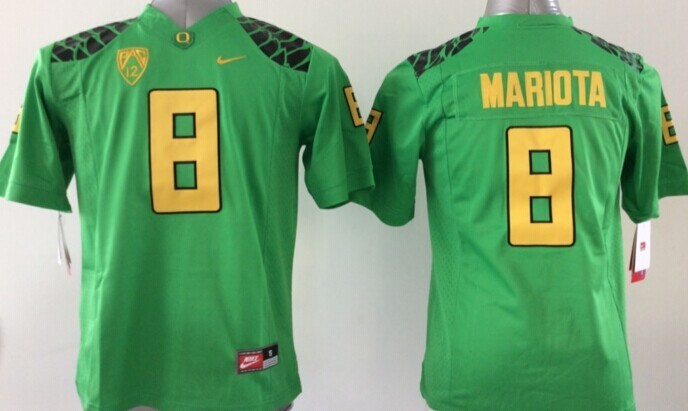 Youth NCAA Oregon Ducks Marcus Mariota 8 Green Yellow 2015 Jerseys