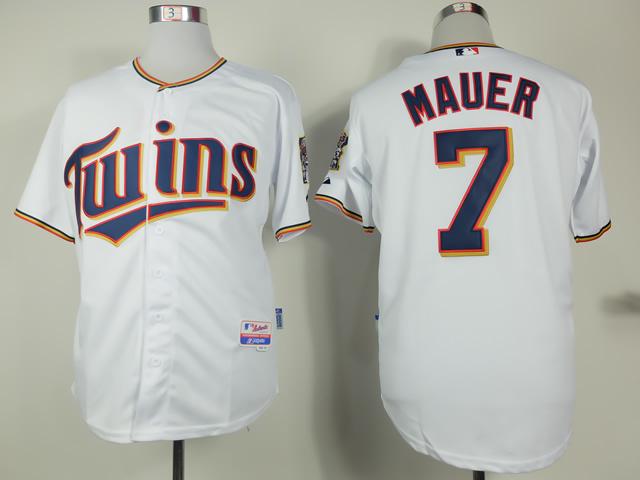 MLB Minnesota Twins 7 Joe Mauer White 2015 Home Jersey