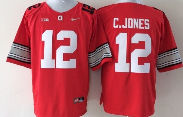 NCAA Ohio State Buckeyes 12 C.JONES red 2015 Jerseys