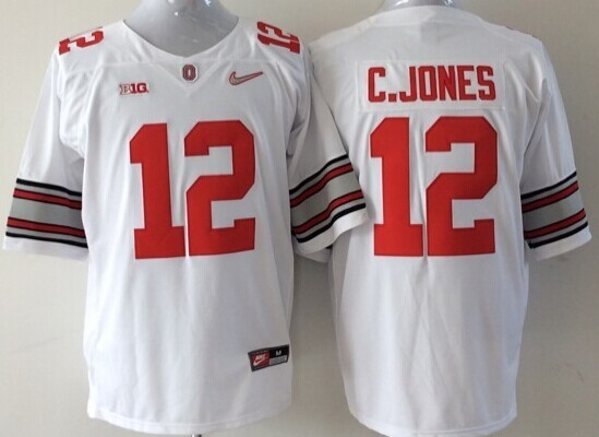 NCAA Ohio State Buckeyes 12 C.JONES white 2015 Jerseys