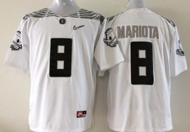 NCAA Oregon Ducks 8 Mariota white Black 2015 Jerseys