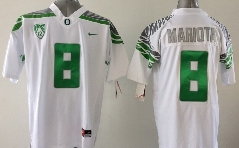NCAA Oregon Ducks 8 Mariota white Green 2015 Jerseys