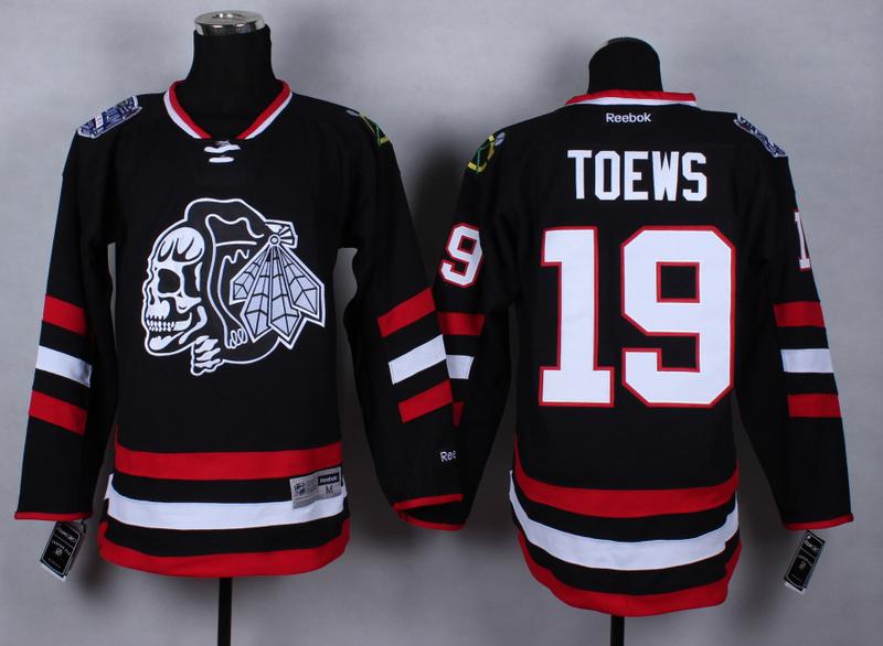 NHL Chicago Blackhawks 19 Janathan Toews Black Skulls 2015 Jerseys