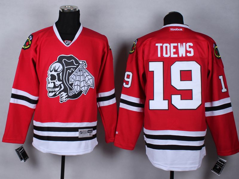 NHL Chicago Blackhawks 19 Janathan Toews Red Black Skulls 2015 Jerseys