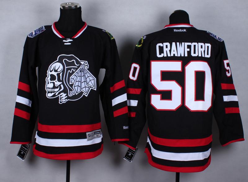 NHL Chicago Blackhawks 50 Corey Crawford Black Skulls 2015 Jerseys