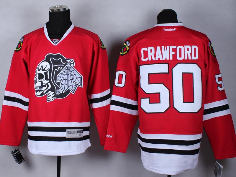 NHL Chicago Blackhawks 50 Corey Crawford Red Black Skulls 2015 Jerseys