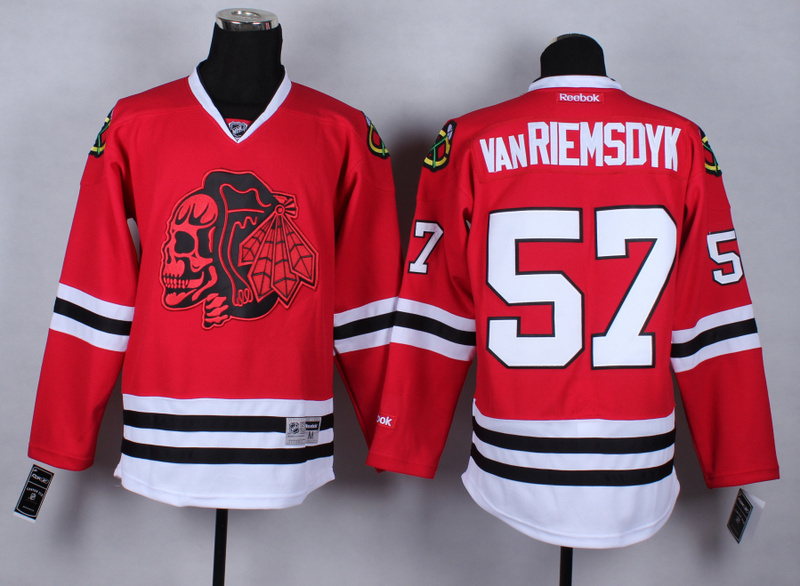 NHL Chicago Blackhawks 57 Trevor vanRiemsdyk Red Black Skulls 2015 Jerseys
