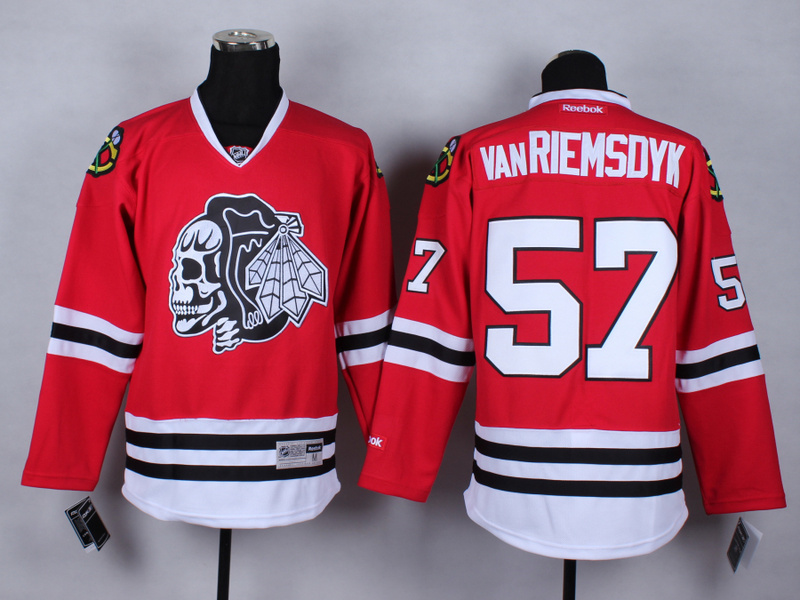 NHL Chicago Blackhawks 57 Trevor vanRiemsdyk Red Skulls 2015 Jerseys