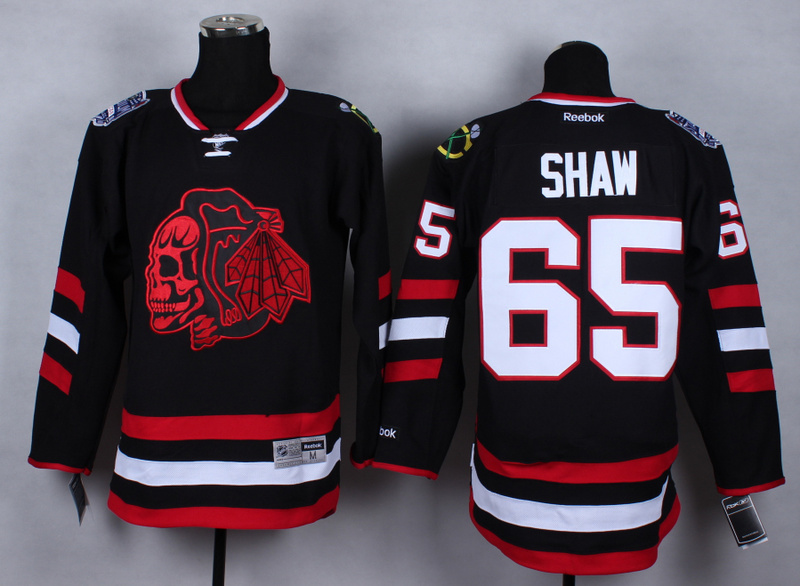 NHL Chicago Blackhawks 65 Andrew Shaw Black Red Skulls 2015 Jerseys