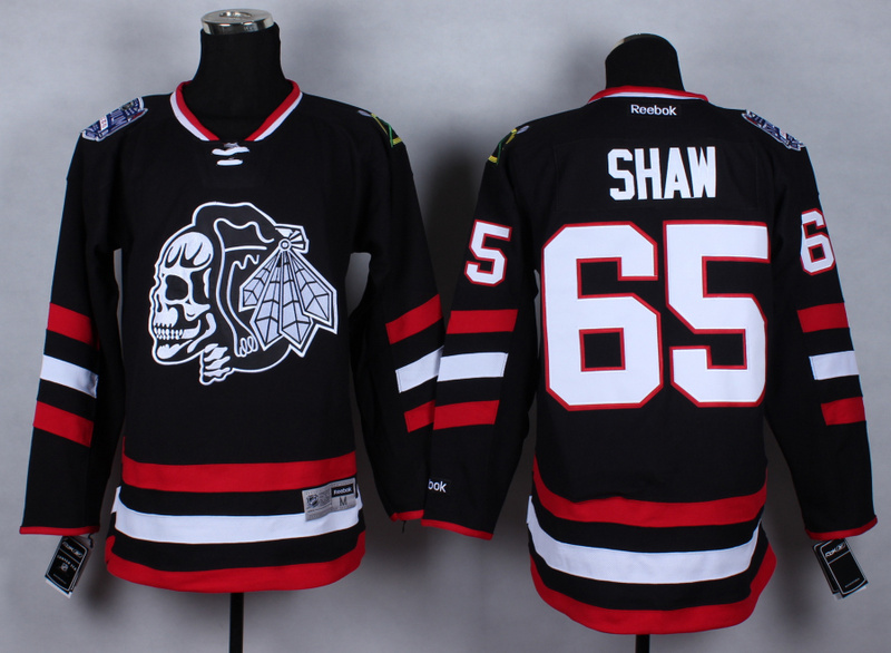 NHL Chicago Blackhawks 65 Andrew Shaw Black Skulls 2015 Jerseys