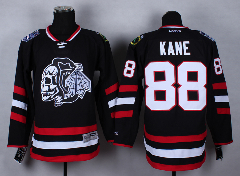 NHL Chicago Blackhawks 88 Patrick Kane Black Skulls 2015 Jerseys