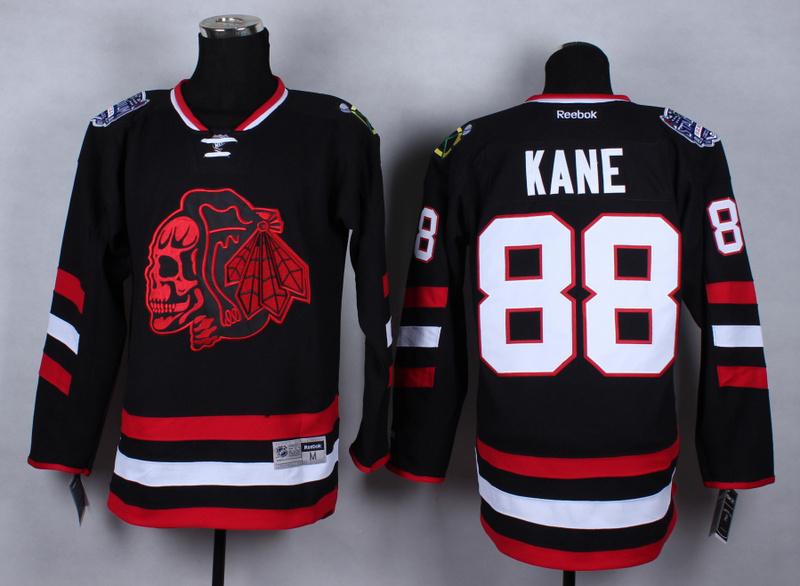 NHL Chicago Blackhawks 88 Patrick Kane Black Red Skulls 2015 Jerseys