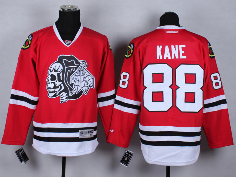 NHL Chicago Blackhawks 88 Patrick Kane Red Black Skulls 2015 Jerseys