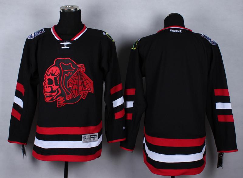 NHL Chicago Blackhawks Blank Black Red Skulls 2015 Jerseys