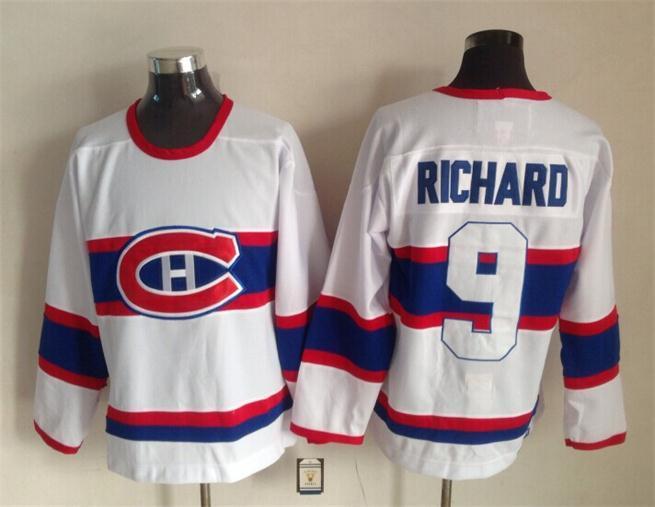 NHL Montreal Canadiens 9 richard white 2015 Throwback Jerseys