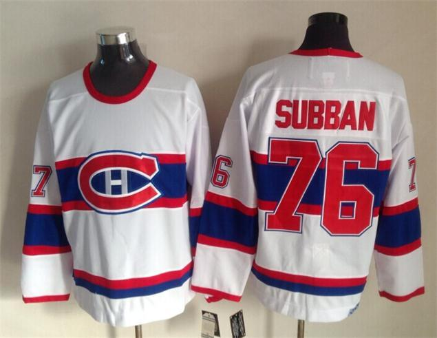 NHL Montreal Canadiens 76 subban white 2015 Throwback Jerseys
